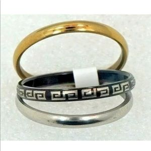 Tri-color Band Stainless Steel Ring 3 Rings